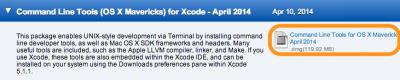 Command Line Tools (OS X Mavericks) for Xcode - April 2014